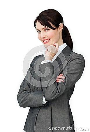 Positive beautiful businesswoman standing