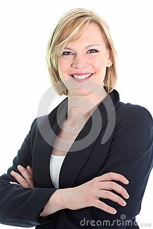 Positive business woman with arms folded