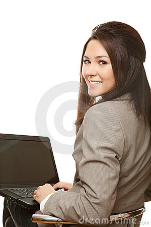 Positive business woman with notebook