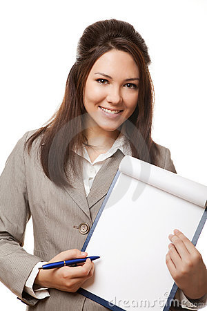 Positive business woman showing blank signboard