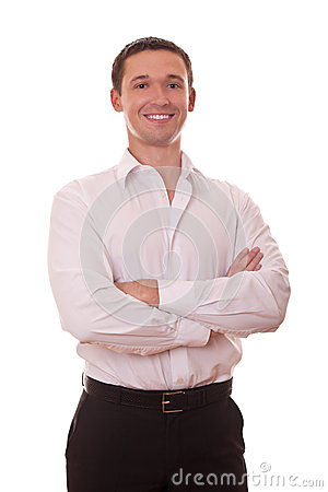 Positive businessman arms folded