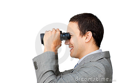 Positive businessman predicting future success