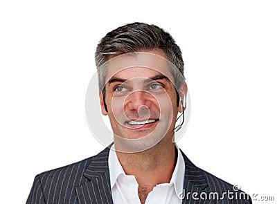 Positive businessman using headset