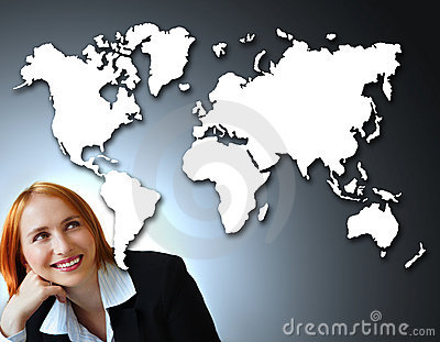 Positive businesswoman and map of the world.