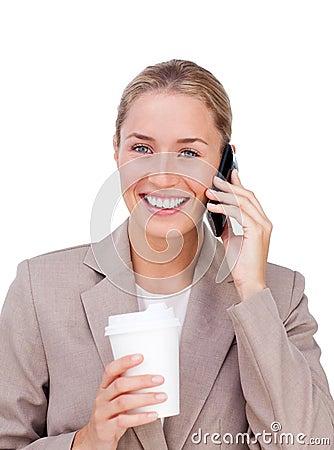 Positive businesswoman on phone