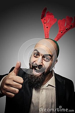 Positive christmas bearded man