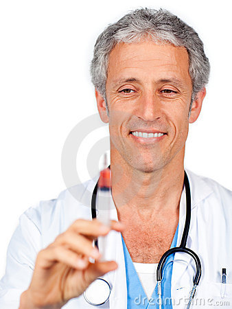Positive doctor presenting a syringe