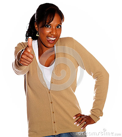 Positive ethnic woman lifting the fingers up