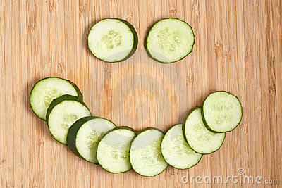 Positive face expression from cucumber s