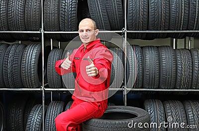 Positive garage worker