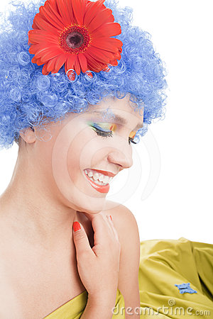 Positive girl with blue hair
