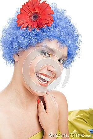 Positive girl with blue hair
