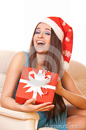 Positive girl with gift