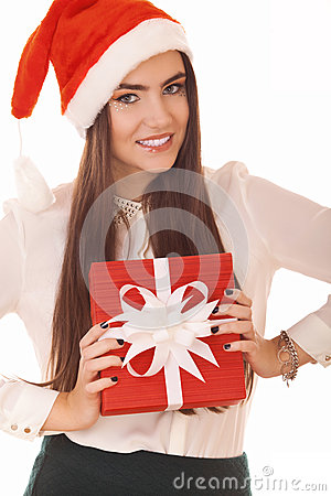 Positive girl with gift box