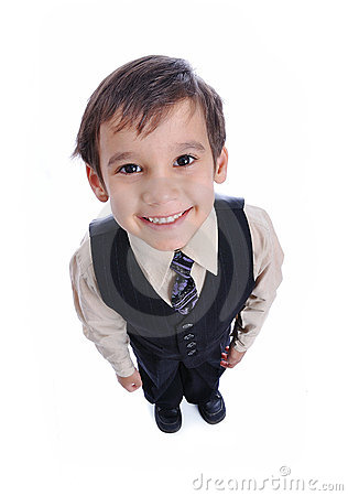 Positive kid in suit