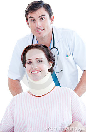 Positive male doctor carrying a patient