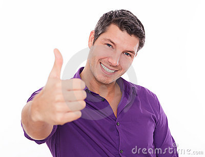 Positive man thumb
