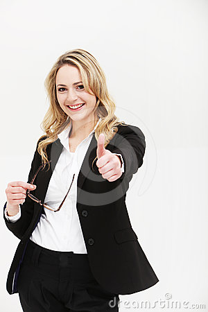 Positive motivated woman giving thumbs up