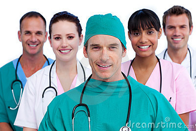 Positive surgeon and his medical team