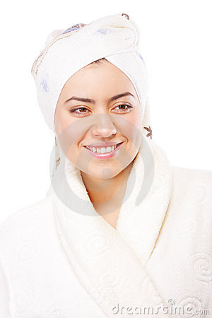 Positive woman in bathrobe