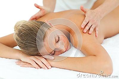 Positive woman enjoying a massage