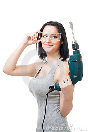 Positive woman hold drill