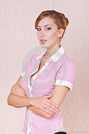 Positive woman office manager