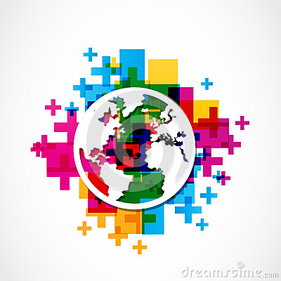 Positive world globe