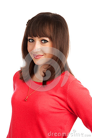 Positive young woman smiling