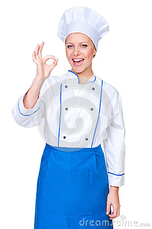 Positivity young cook showing ok sign