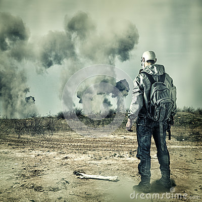 post-apocalypse-man-gas-mask-explosions-
