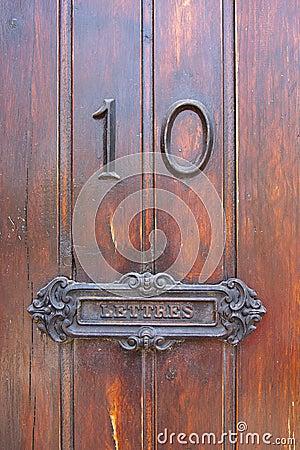 Post box in a door