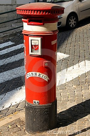 Post box in Lisbon, Portugal Editorial Photo
