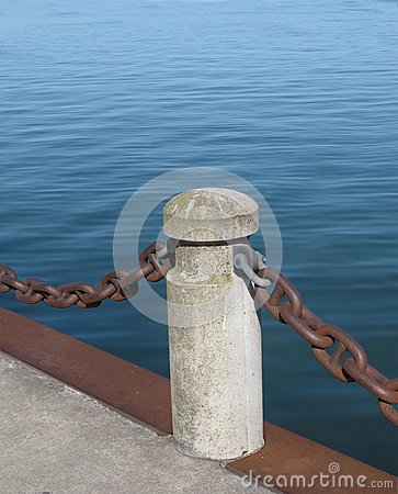 Post and chain on a pier