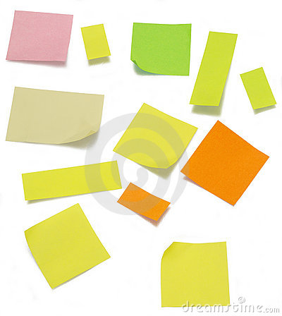 Post it colorful (clipping path)