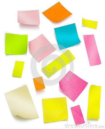 Post it colorful with clipping path
