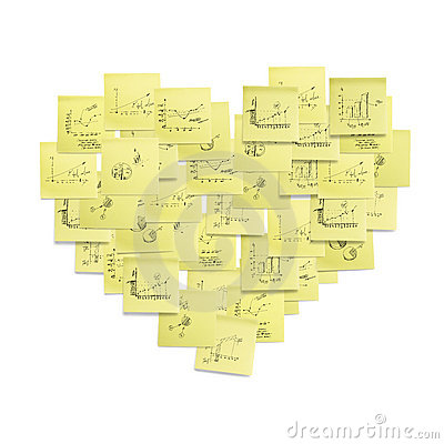 Post-it heart shaped symbol concept illustration.