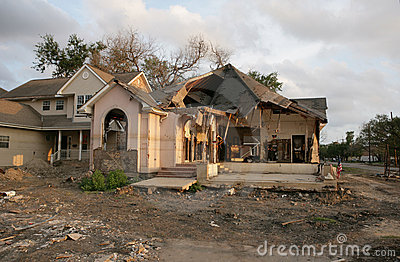 Post hurricane Katrina a flood Damaged home in New Orleans near the 17th Street Canal.