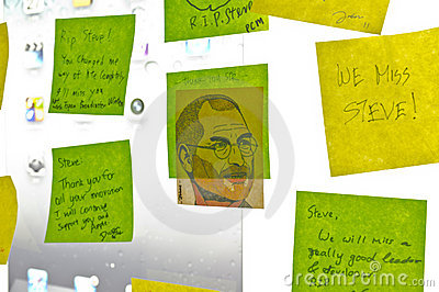 Post-Its to pay tribute Steve Jobs Editorial Image