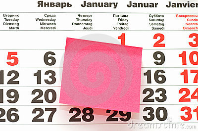 Post-It Note on Calendar