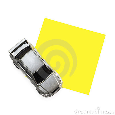 Post-It Note with Car Toy