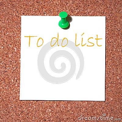Post it note on cork - do list