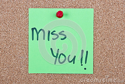 Post it note with miss you