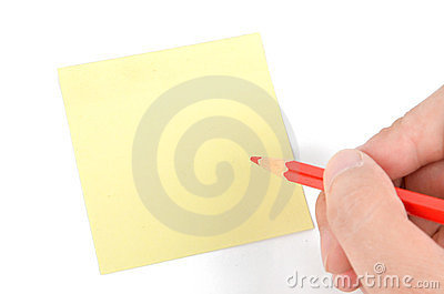 Post-it note and pencil