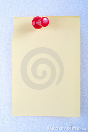 Post-it note with pin