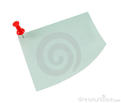 Post-it note with red pin