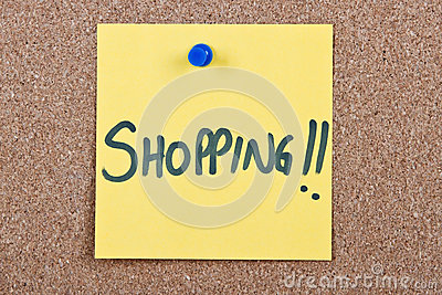 Post it note with shopping