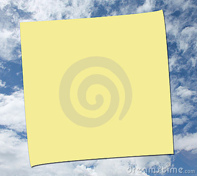 POST IT NOTE ON SKY BACKGROUND