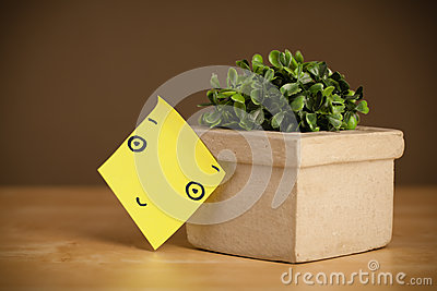 Post-it note with smiley face sticked on flowerpot Stock Photo