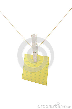 Post-it note on a string on a white background